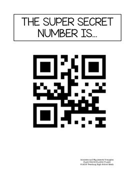 Geometry Super Secret Number Puzzle Isosceles and