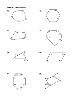 Geometry Unit 5 Polygons Angles Practice Worksheet Regular