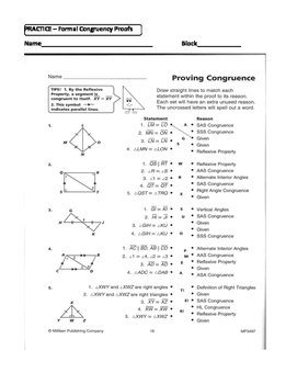 Geometry Unit 8 Congruent Triangles 2 Column Proofs Sss