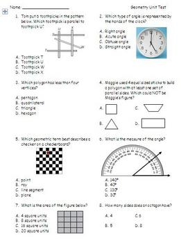 Geometry Unit Test Math Envision Grade 4 By Brittany