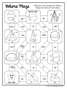 Geometry Volume of 3D Solids Maze by Teaching High School