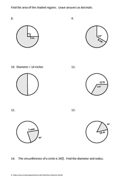 Geometry Worksheet: Arc Length and Sector Area by My