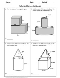 Geometry Worksheet: Volume of Composite Figures by My
