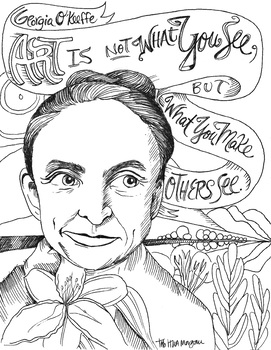 Georgia O'Keeffe quote coloring page by The Lost Sock Art