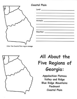 Georgia Regions FlipBook Template By Heather Shivers TpT