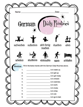 German Daily Routines Worksheet Packet by Sunny Side Up