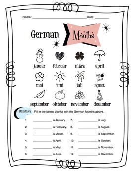 German Months Of The Year Worksheet Packet by Sunny Side