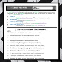 Grammar: Verbals GERUNDS Practice Worksheets (Common Core ...