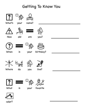 Getting To Know You: Adapted Worksheet by Autism Speech
