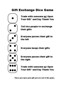 Roll The Dice Christmas Gift Exchange Game : christmas, exchange, Christmas, Exchange, Worksheets, Teachers