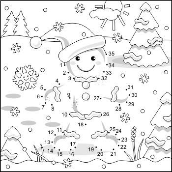 Ginger Man Connect the Dots and Coloring Page, Non-CU by