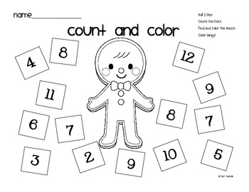 Gingerbread Man Count and Color Math Game FREEBIE by Chalk