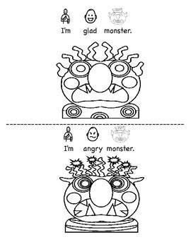Glad Sad Monster: My Monster Feelings BW Printable Book