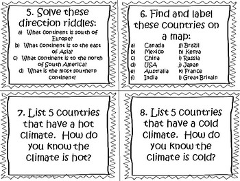 Global Communities Task Cards and Worksheets by HappyRock