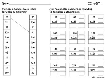 Go Math Chapter One Grade 3 Activity Sheets by
