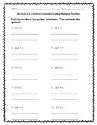 Go Math Practice - 4.1 - Estimate Quotients Using ...