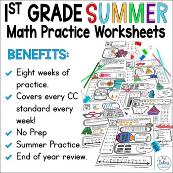 Summer School Math Practice First Grade End of Year by Mrs