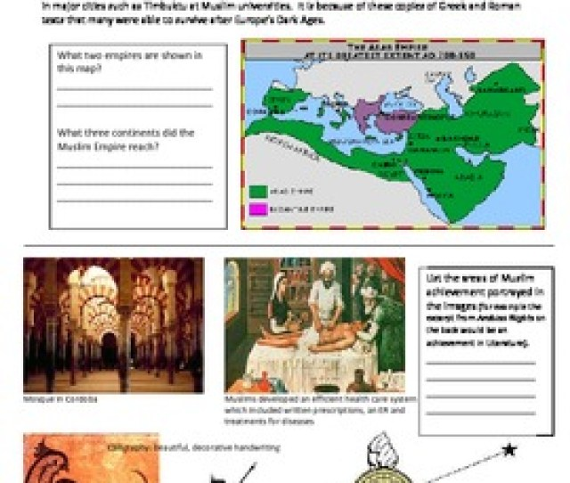 Golden Age Of Islam Achievements Worksheet