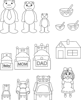 Three Little Bears Puppets Printable Coloring Coloring Pages