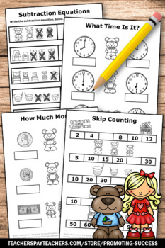 Kindergarten Math Review Worksheets Goldilocks and the