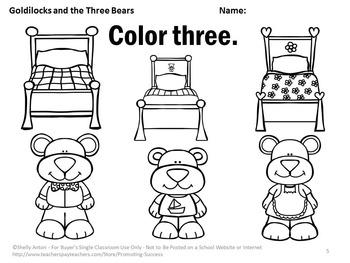 Counting 1-10 Goldilocks and the Three Bears Kindergarten
