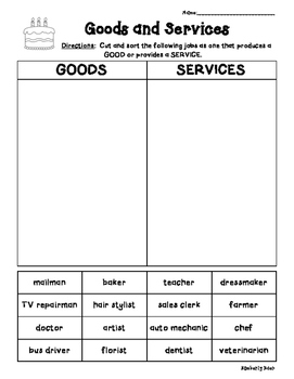 Goods and Services Economics Cut and Paste Sorting