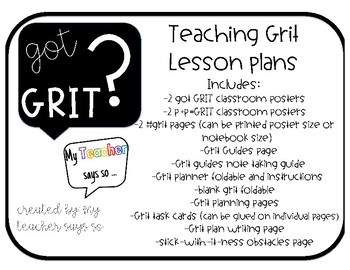 Got Grit? Lesson plans and planning pages, goal setting by