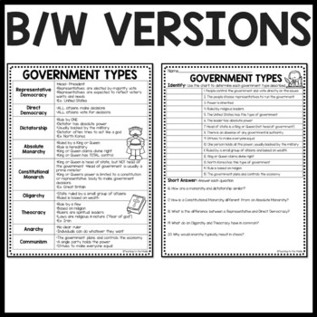 Government Types Review Chart, Questions Worksheet