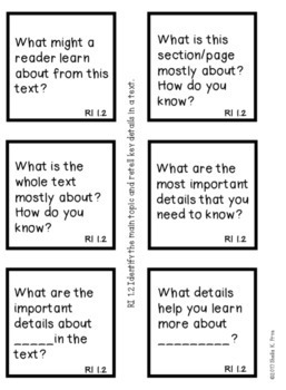 Text Dependent Question Stems 1st Grade by Teaching