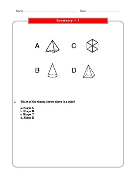 Grade 2 Common Core Math Worksheets: Geometry 2.G 1 #2 by