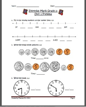 Grade 2 Everyday Math Pretest and Checklist (Unit 1) by