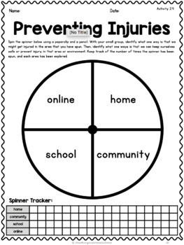 {Grade 2} Personal Safety and Injury Prevention Activity