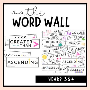 Grade 3 & 4 Maths Word Wall Australian Curriculum by Ell