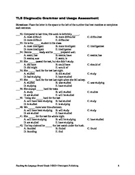 Grade 5 Diagnostic Grammar, Usage, Mechanics, and Spelling