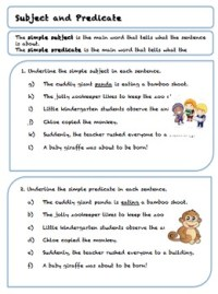 Grade 5 Subject and Predicate Worksheets by Teach to Love ...