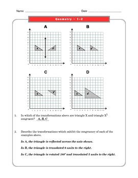Grade 8 Common Core Math Worksheets: Geometry 8.G 1-2 by