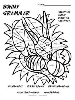 Grammar Bunny-Noun, Verb, Adj, Pronoun, Adv- Coloring