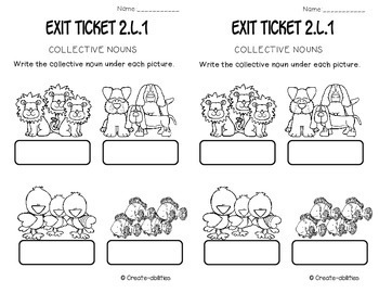 Grammar and Parts of Speech Exit Tickets 2nd Grade by