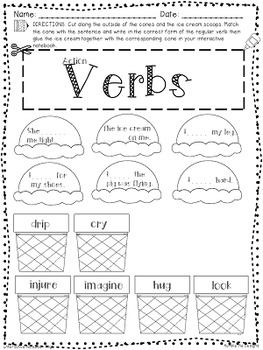 Grammarific: Action Verbs Interactive Notebook Pages by