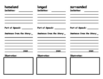 Grandfather's Journey Vocabulary Foldable by Ready to Use