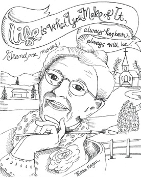 Grandma Moses Coloring Page By The Lost Sock Art Teacher Tpt