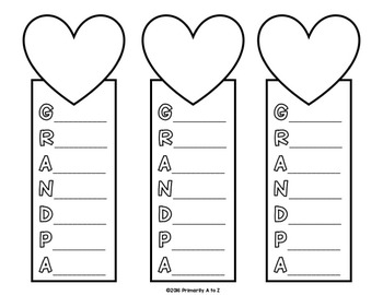 Grandparents' Day Bookmarks {Acrostic Poems} by Primarily