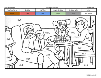 Grandparents Day Coloring Page by Multiplication Fact