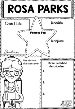 Graphic Organizer : Rosa Parks, Black History by The Lotus