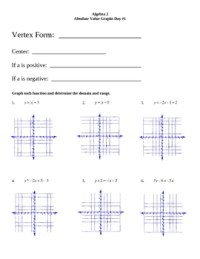 Graphing Absolute Value Linear Equations Worksheet ...