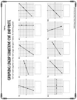 Graphing Linear Equations Cut and Paste Worksheet by Math