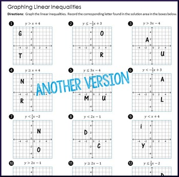 Graphing Linear Inequalities Multi-level Practice by