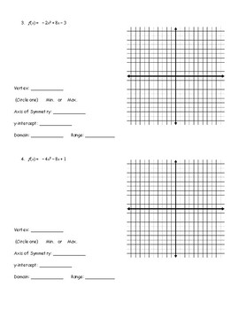 Graphing Quadratic Functions in Standard Form Guided Notes