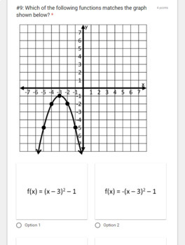 Graphing Quadratics QUIZ- for use with Google Forms by