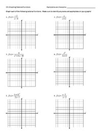 Graphing Rational Functions Worksheet + Answer Key by ...